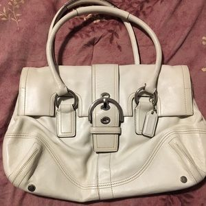 Winter white leather coach bag